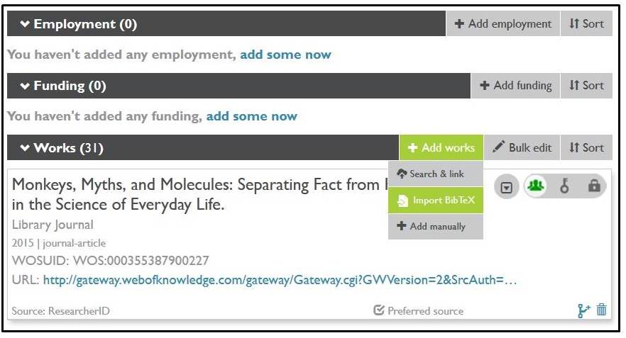 ORCID citation import options