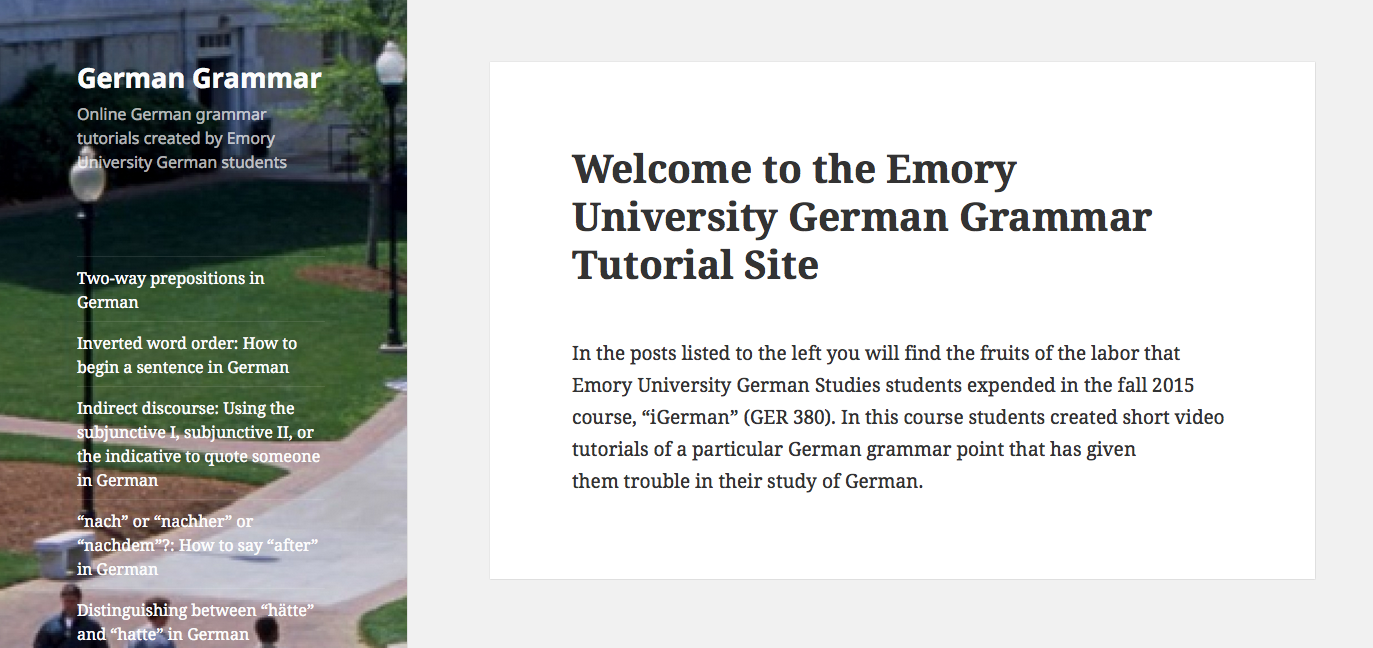 Emory University German Grammar Tutorial Site (screenshot)