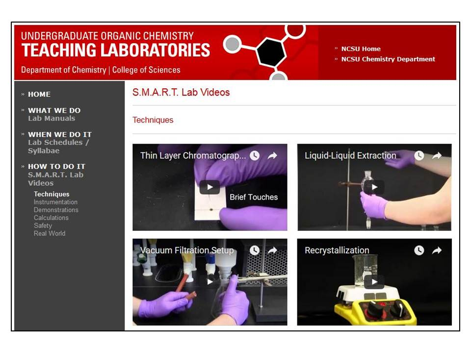 Screenshot for Teaching Laboratories website at NCSU
