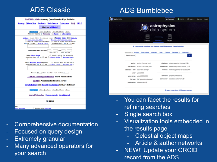 ADS classic versus integrated search