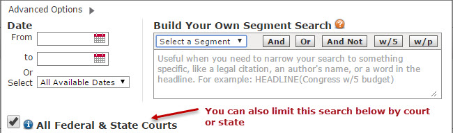LexisNexis Advanced Options in Federal and States Cases Search Form