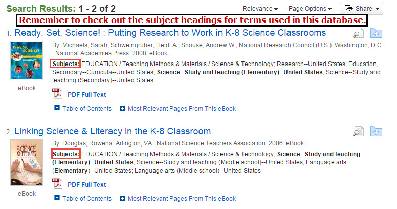 Results from Molecular Biology and Elementary Students search of EBSCOhost eBooks.