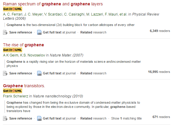 Screenshot of Mendeley Papers catalog with LibX toolbar