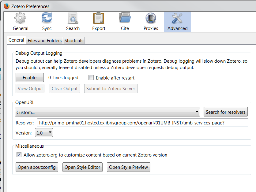 Screenshot of Zotero OpenURL