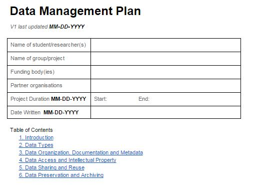 Data Management Plan Template | Introduction To Data Management Research Data Management Rdm