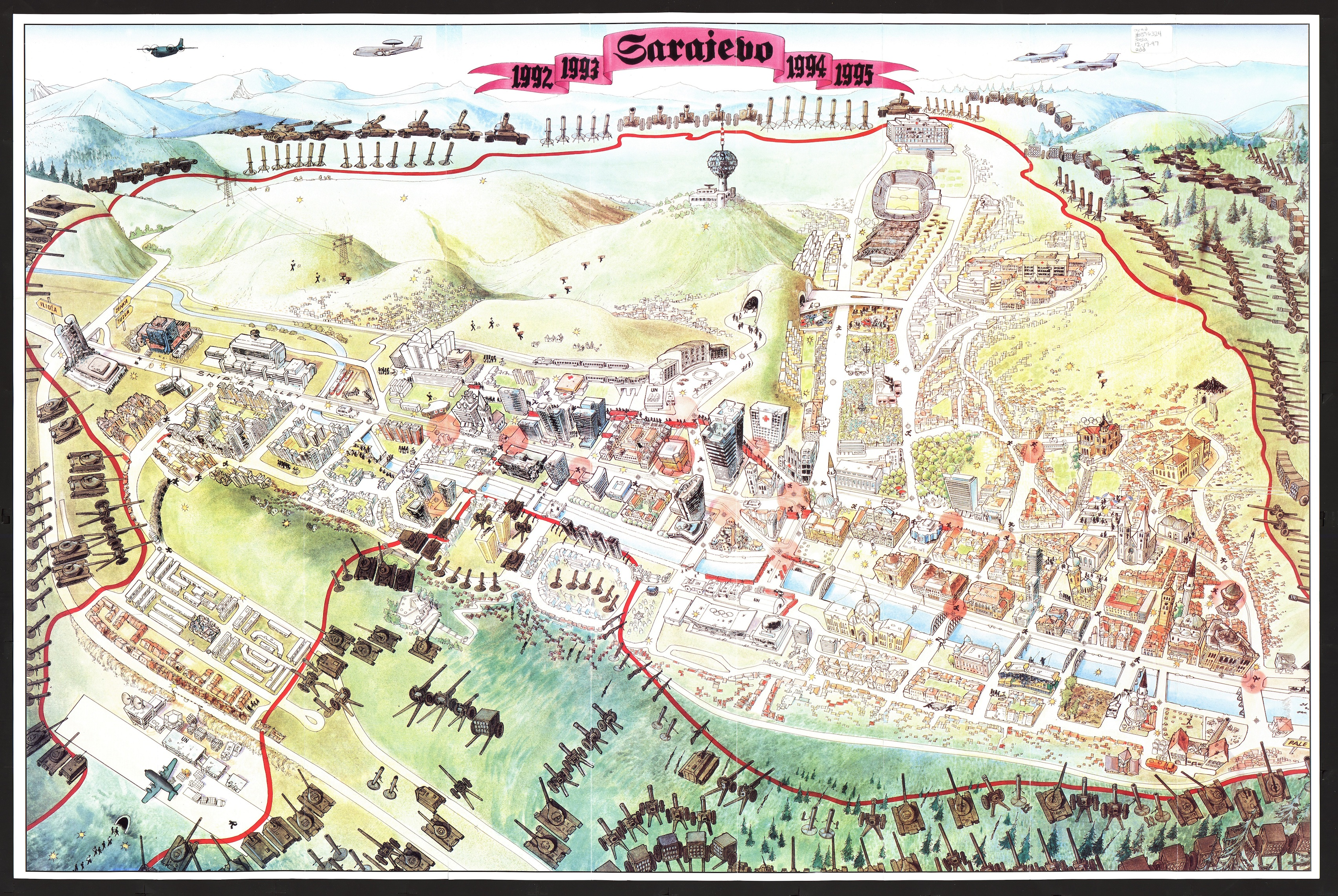 Satirical map of Sarajevo in the mid 1990s.