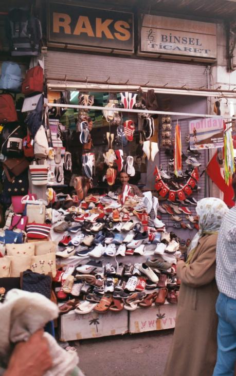 Photograph of a Turkish shoe store in 2002.