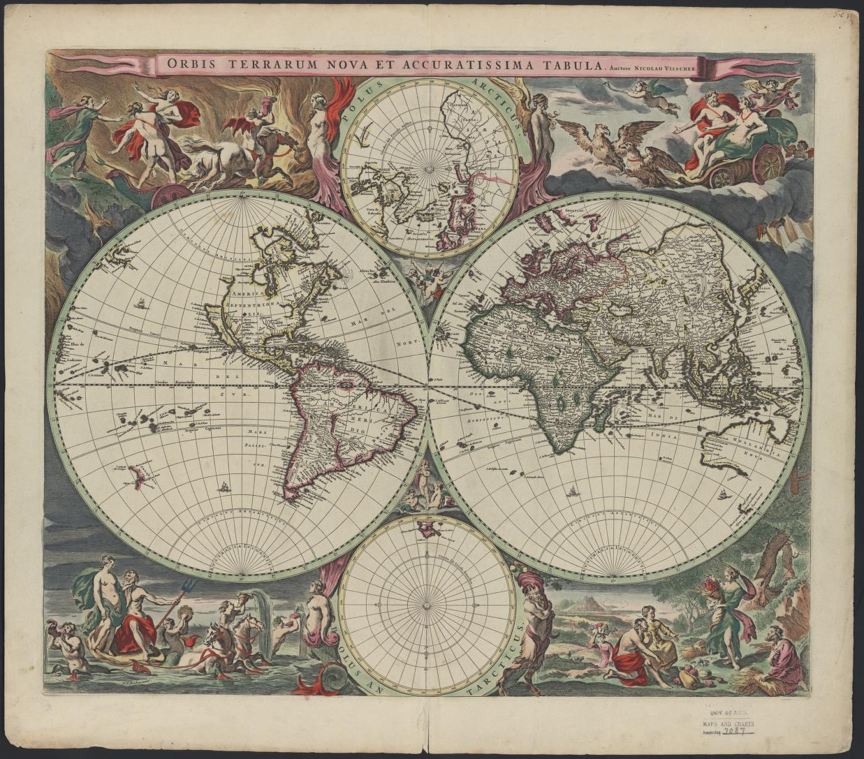 A 17th century map of the world.