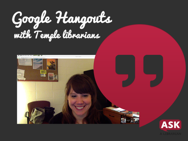 screenshot of a google hangout with a librarian