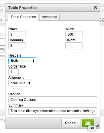 screenshot of table properties
