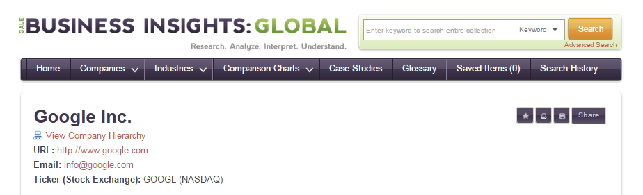 Image of title information for Google company profile in Business Insights: Global database.