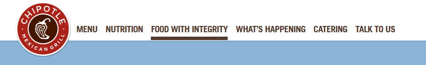 Image of Chipotle company website with section titled food with integrity highlighted.