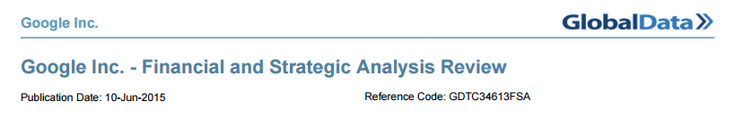 Image of title information for Google SWOT analysis from Global Data.