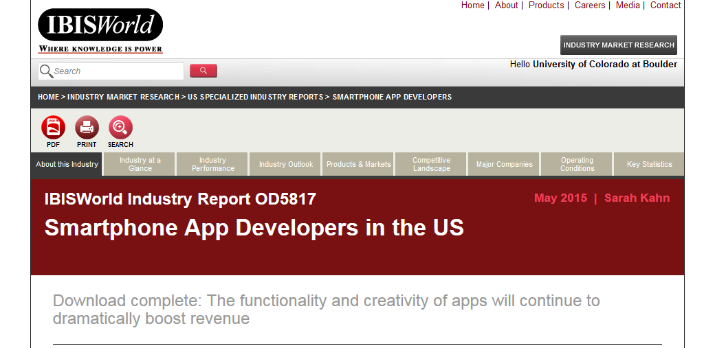 Screencapture of IBISWorld Smartphone App Developers industry report.