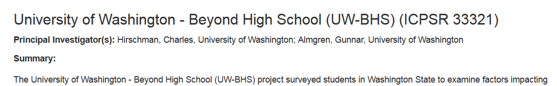 Screenshot of title of downloadable dataset called University of Washington Beyond High School