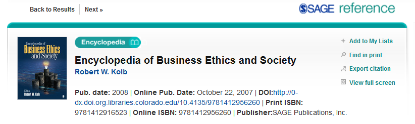 Image of citation information for the Encyclopedia of Business Ethics