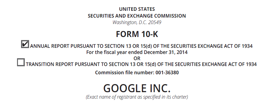 Screenshot of Google's 10-K filing to the S.E.C. for fiscal year ending December 31, 2014.