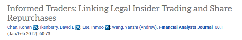 "Image of article title, journal, date, authors for article titled ""Informed traders: linking legal insider trading and share repurchases"""