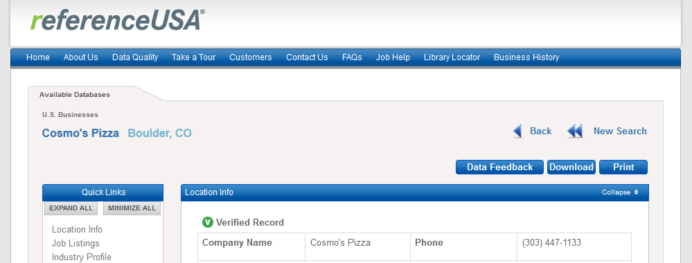 Image of title section of Reference USA company location profile for Cosmo's Pizza Boulder location.