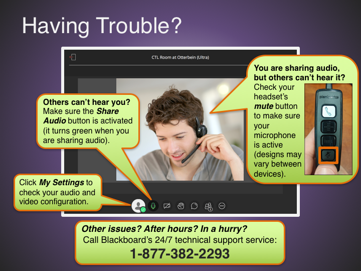 Call 1-877-382-2293 to contact Blackboard's 24/7 technical support service.
