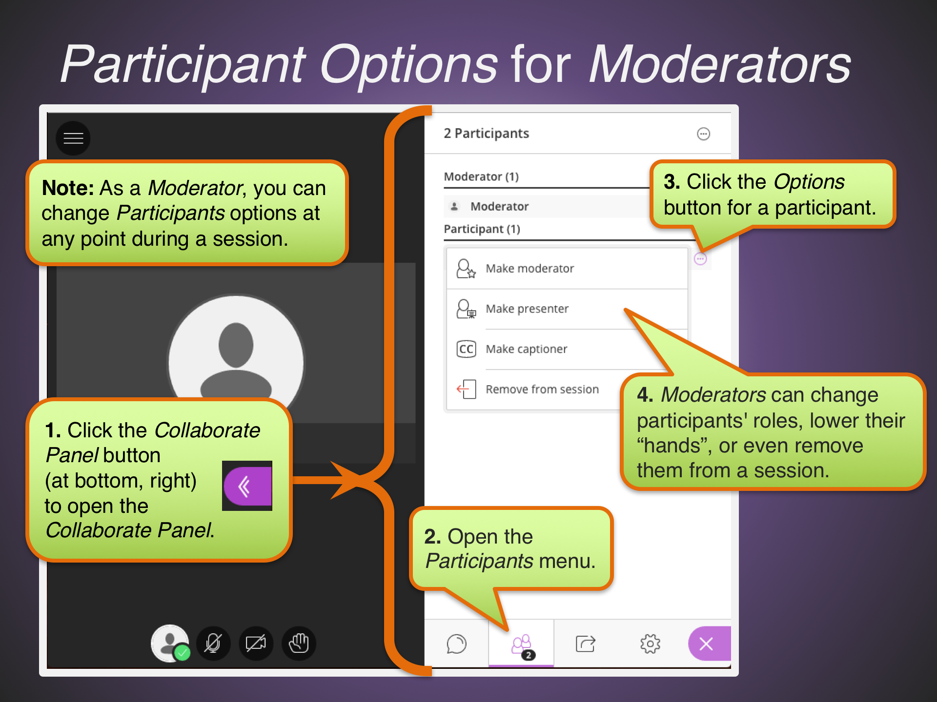 Participant Options for Moderators