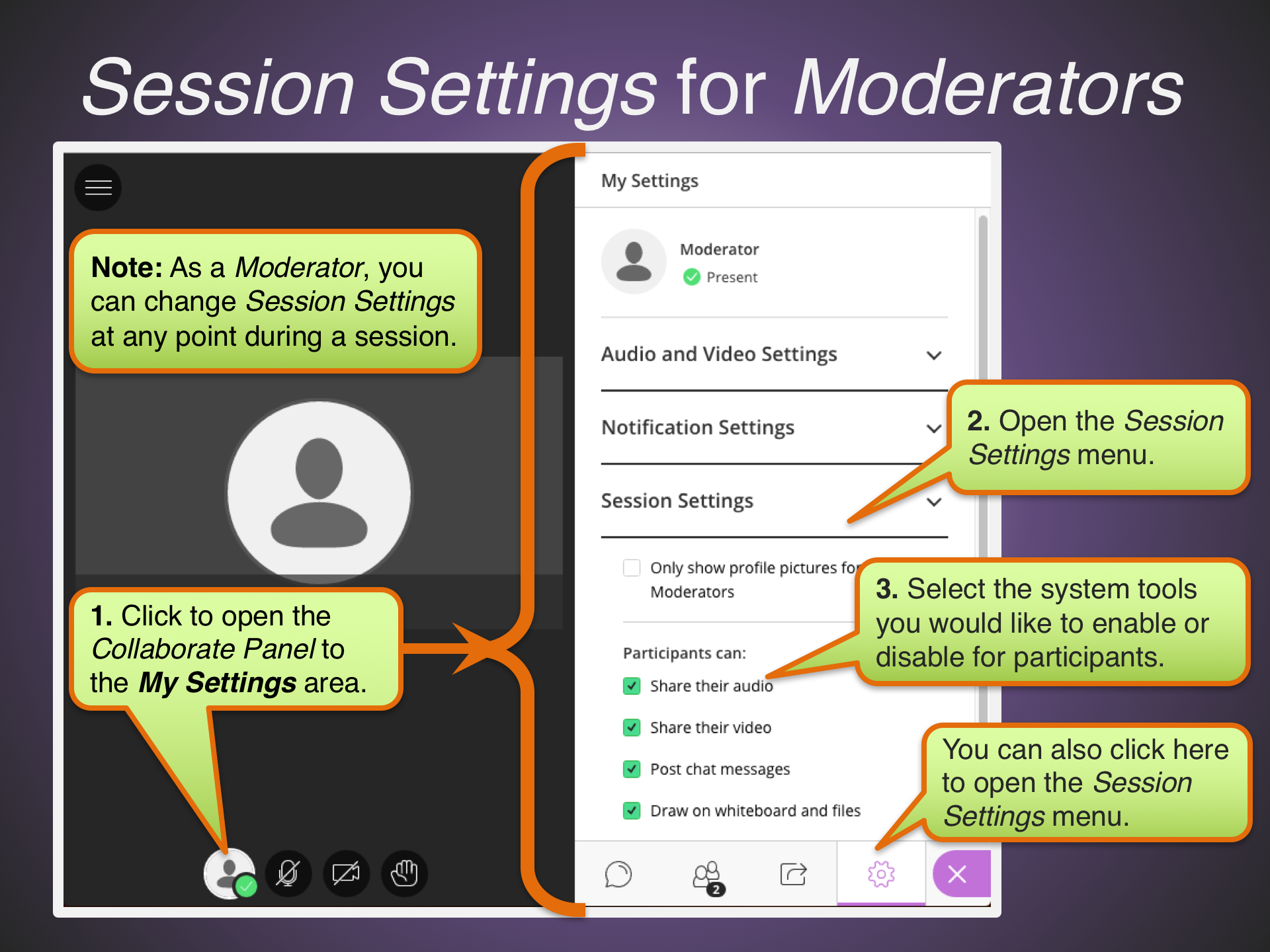 Session Settings for Moderators