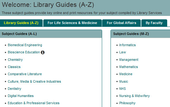screenshot of subject guides page