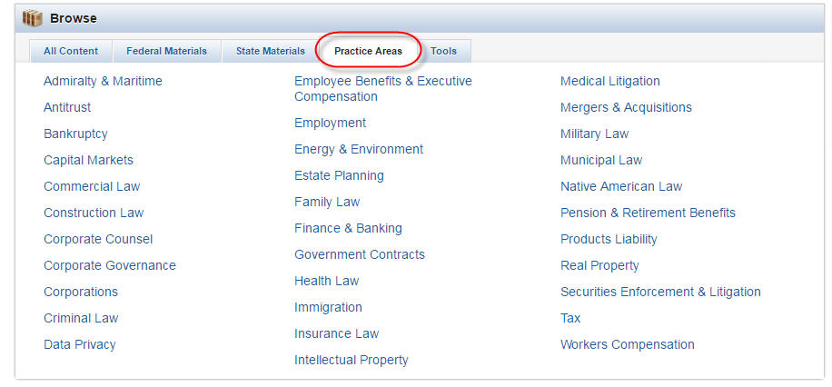 Westlaw Practice Area tab