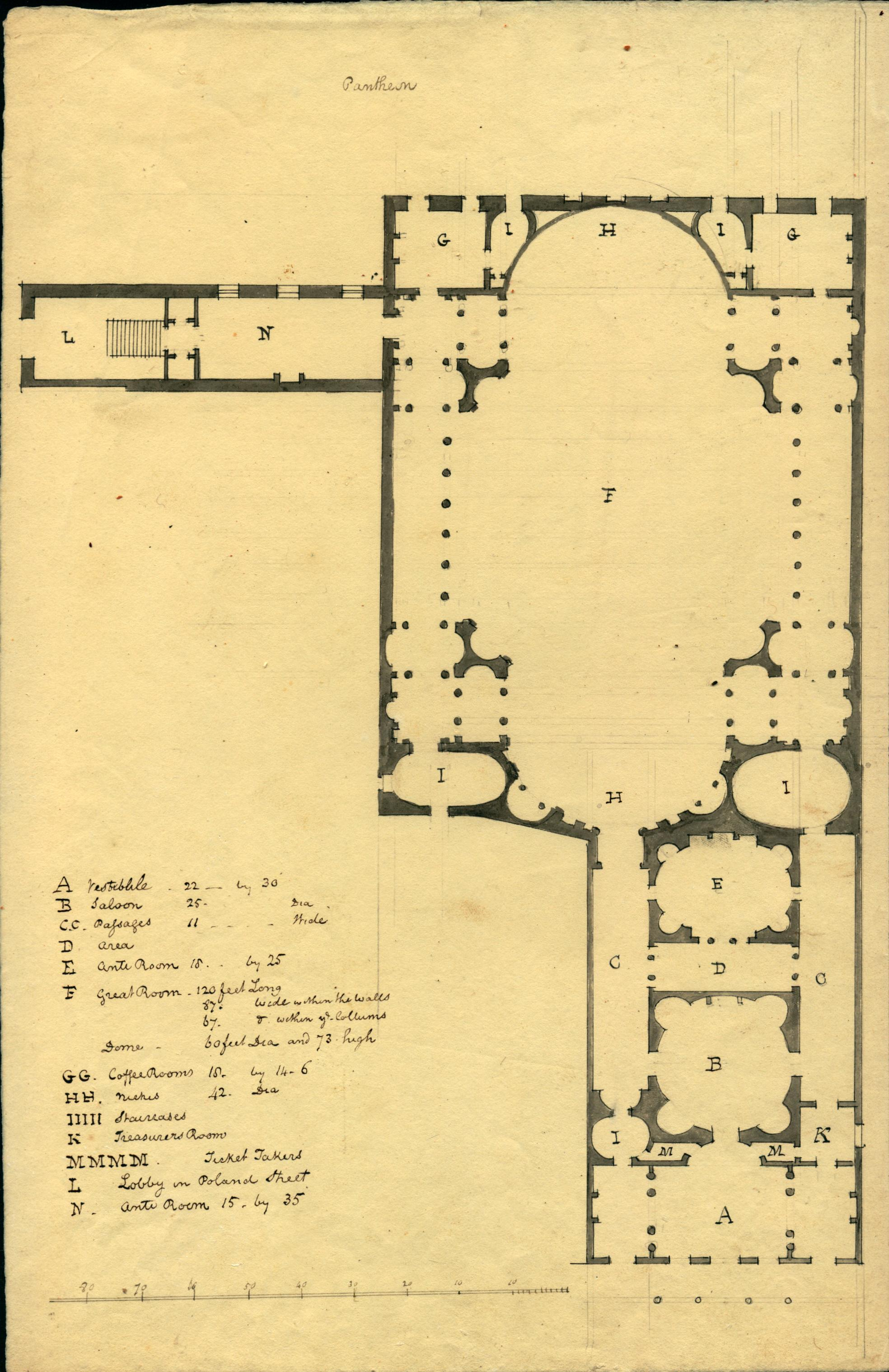architectural room plan of a theater with list of each room