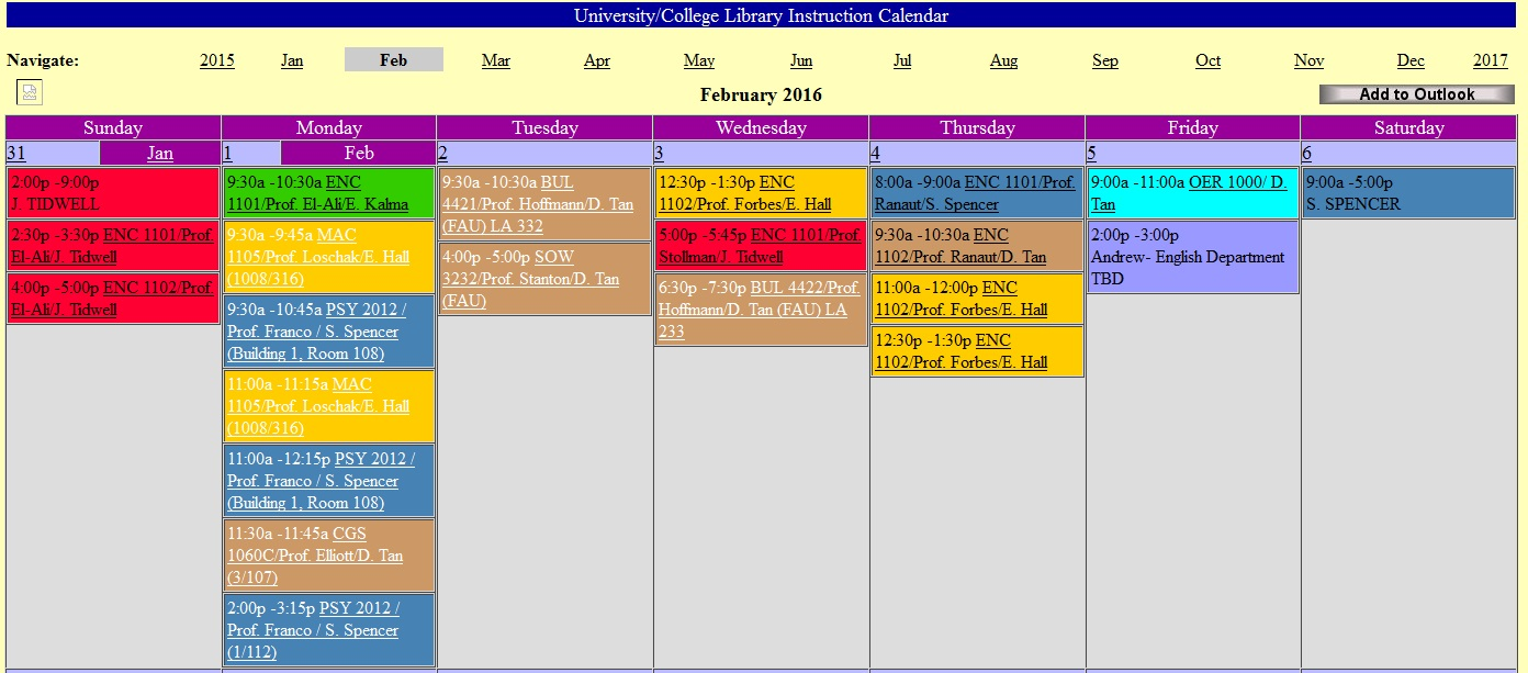 Off Campus Access Calendar