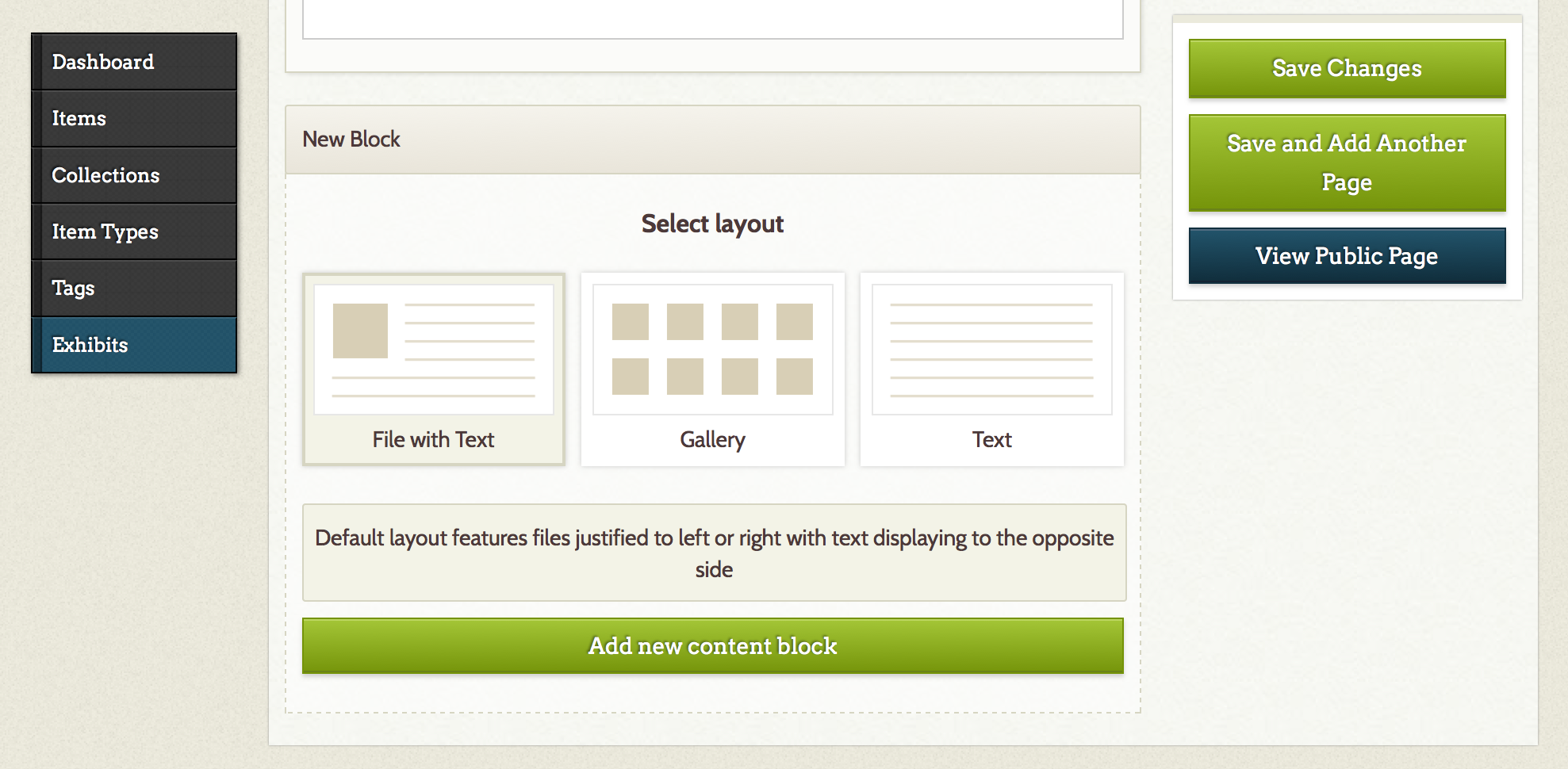 "The user selects a layout for the content block on the ""Add a Page"" screen. Each layout is accompanied with descriptive text."