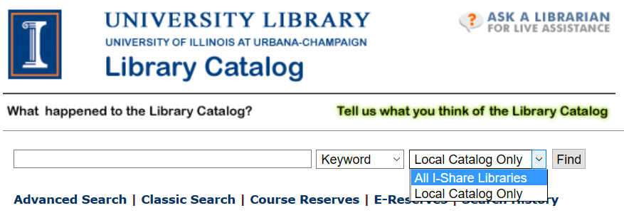 Library catalog showing I-Share catalog dropdown