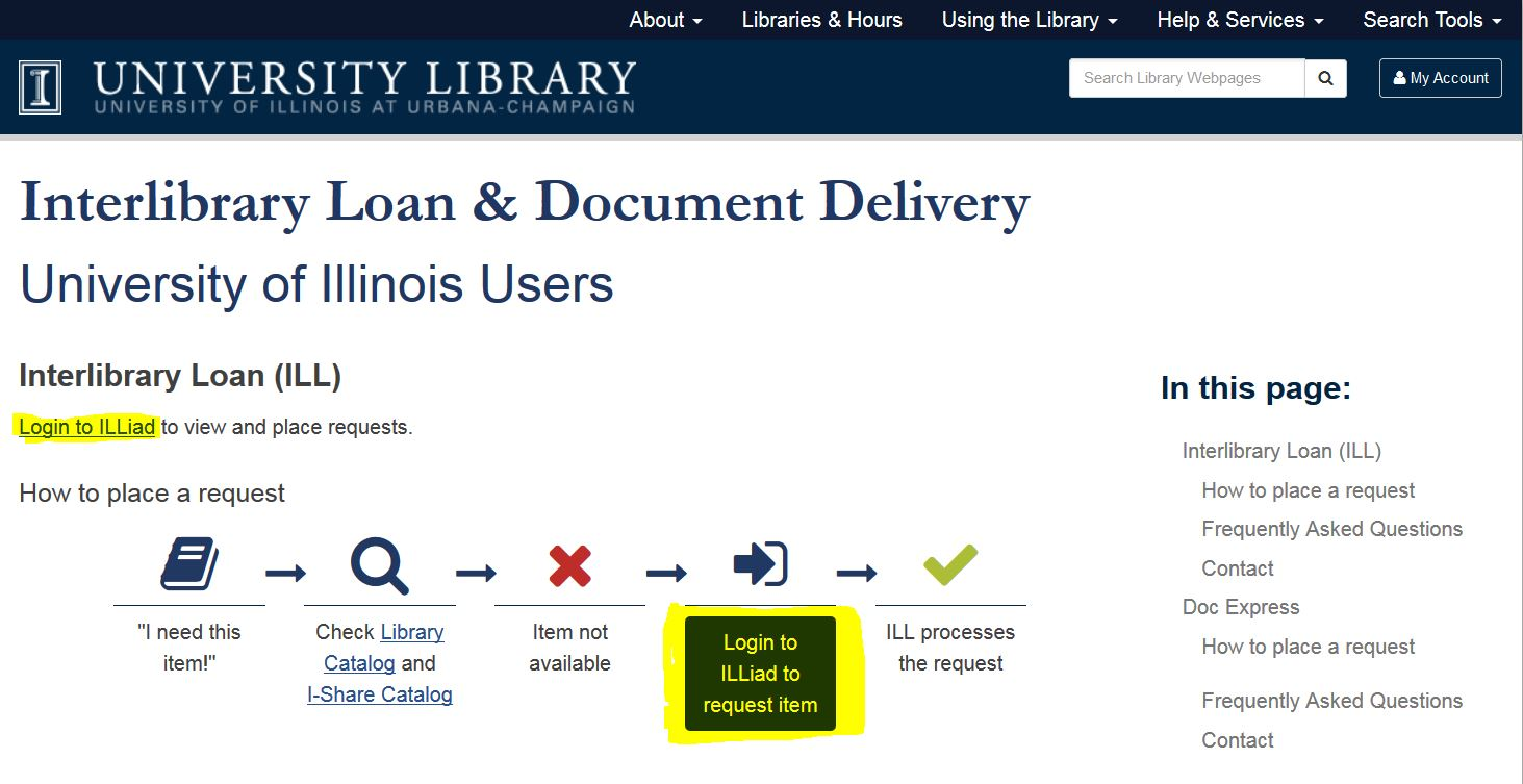 "highlighted ""Login to ILLiad"""