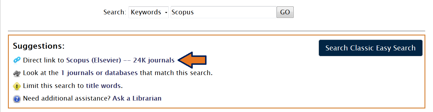 This image is a screenshot of a direct link to Scopus from the University Library EasySearch results page.