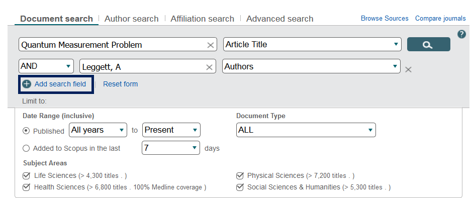 "This image is a screenshot of the Scopus document search. The ""Add search field"" link is highlighted."