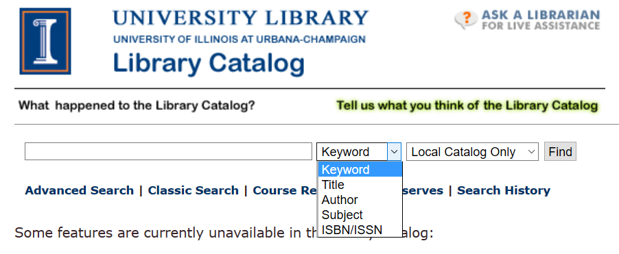 Library catalog basic search box showing different search types
