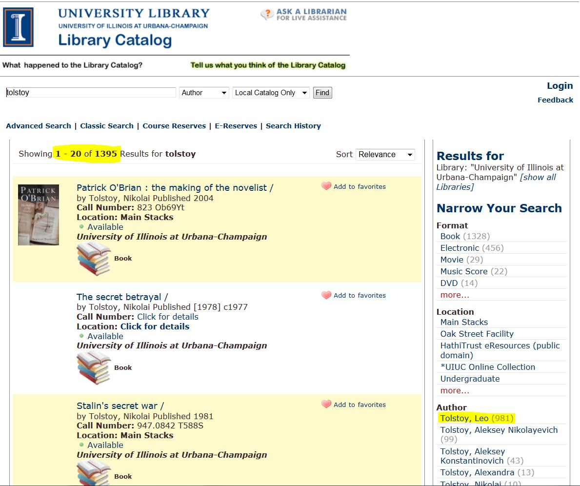 "Catalog search page, highlight on ""Search Results"" and ""Tolstoy, Leo"""