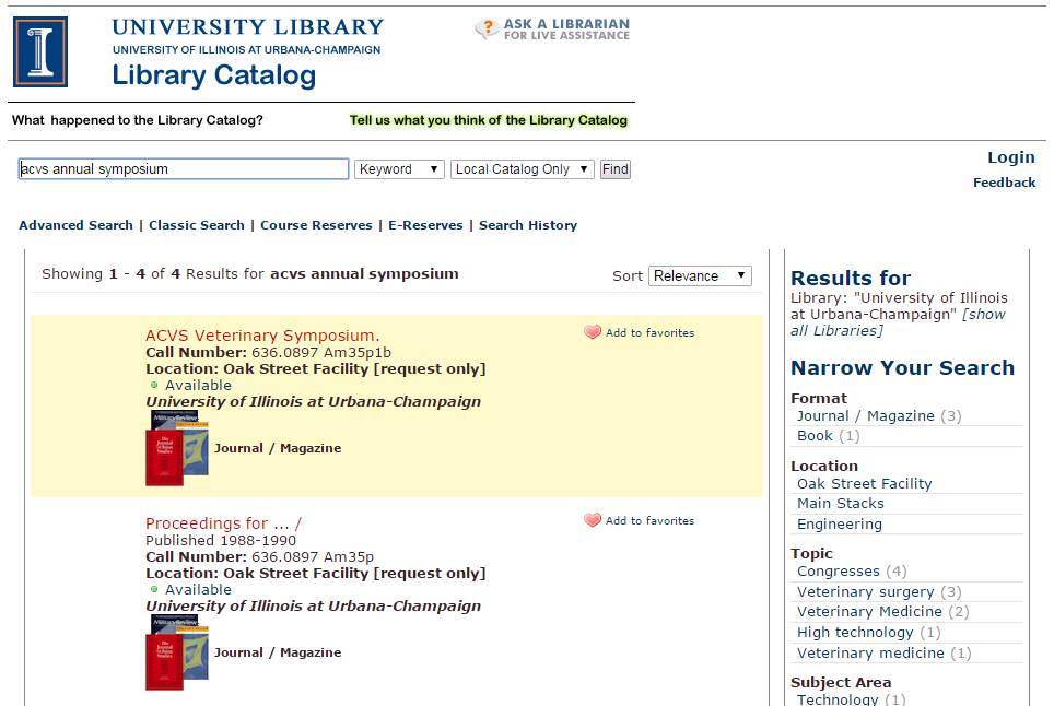 Library catalog search for journals