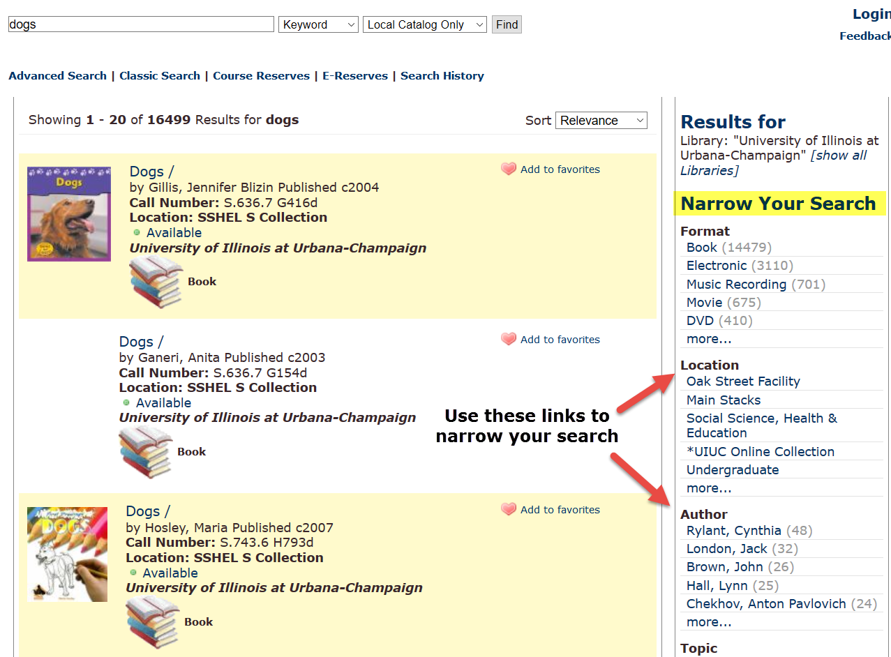 Catalog options to narrow your search