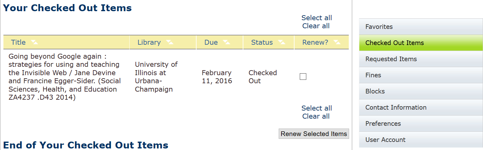 Renew checked out items by checking the box next to the item