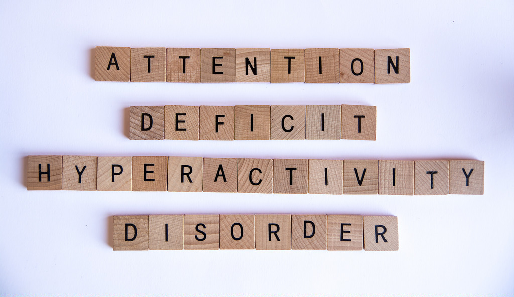 Attention Deficit Hyperactivity Disorder spelled out in wooden blocks