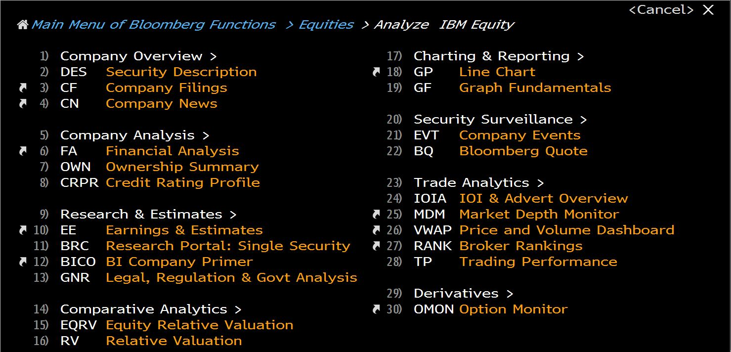 IBM Bloomberg Equity Home Page