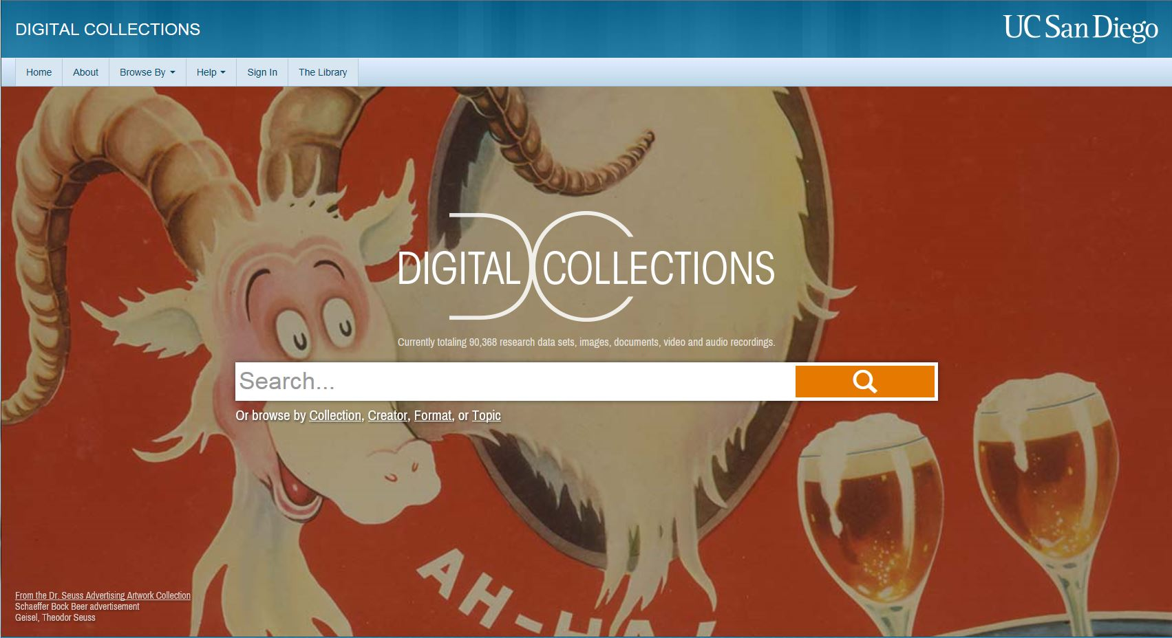 Screenshot of Digital Collections Homepage