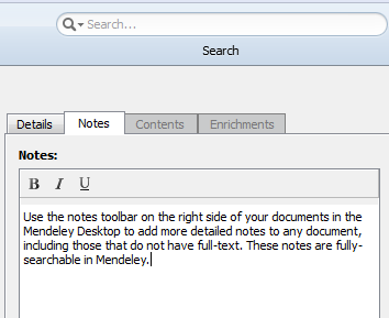 Mendeley Notes Toolbar Image