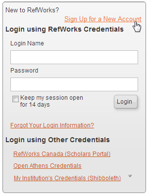 RefWorks SignUp Page