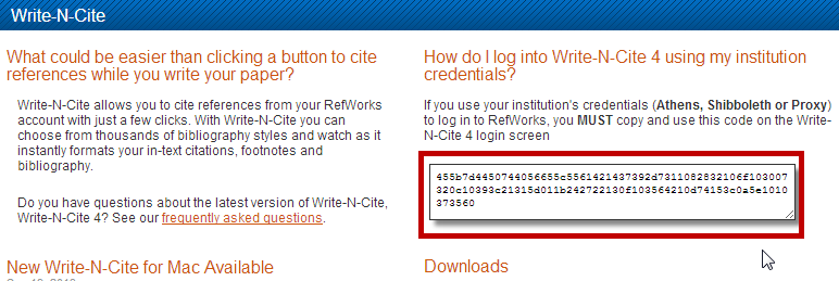 Write-N-Cite login code