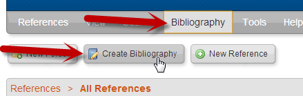 RefWorks create bibliography button