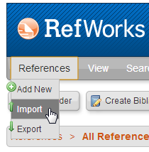 RefWorks Import Link under References
