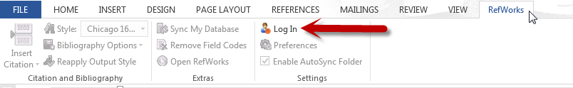 Login option on ribbon