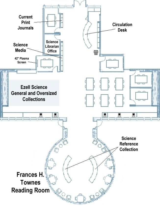 Floorplan map of the Sanders Science Library